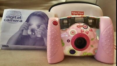 Fisher Price Kid Tough Pink Floral Digital Camera with Case. Tested and Working!