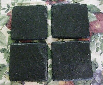 "Lot Of 4 Collectible Heavy Black Natural Slate 4"" Square Coasters with Felt Pads"
