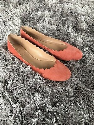 abdeaa028 Chloé Chloe Lauren Scalloped Ballet Flat Pink Coral suede Leather 39.5  Slip-on