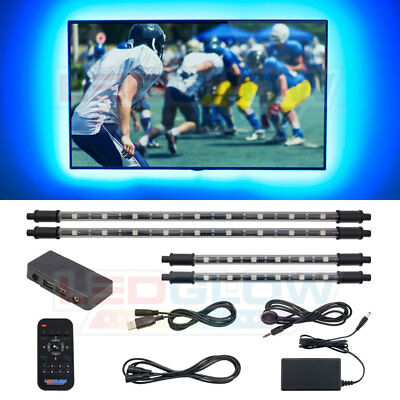 LEDGLOW 4pc MILLION COLOR HOME THEATER LED AMBIENT ACCENT LIGHTING KIT SYSTEM