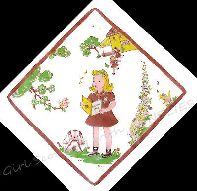 1940s Brownie Girl Scout Hankie VERY RARE Singing Books Dog School LEADER GIFT