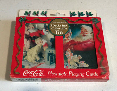 Coca Cola Limited Edition 2 Decks Nostalgia Playing Cards In A Collectible Tin
