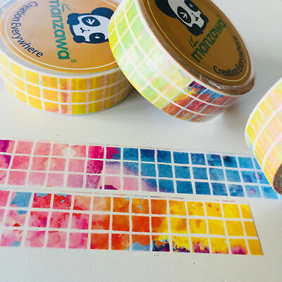 Washi Tape Grid On Rainbow Watercolour 15Mm X 10Mtr Planner Wrap Mail Art Craft