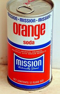 Mission Orange Soda; Mission of California; New Haven, Conn; steel soda Pop Can