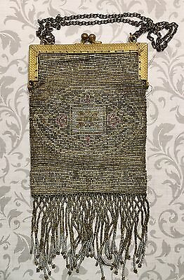 Antique Edwardian Art Deco French Cut Steel Beaded Purse-Estate