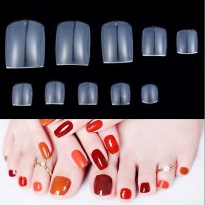 2x 500pcs Full False Foot Toe Nail Tips Acrylic Gel DIY Nail Art Clear