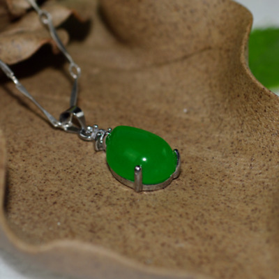 China handcarved green jade Water drop shape Pendant necklace A1