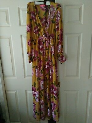 Bohemian Women s Floral Chiffon Long Sleeve Belted Maxi Prairie Dress Large cb0e50ec4