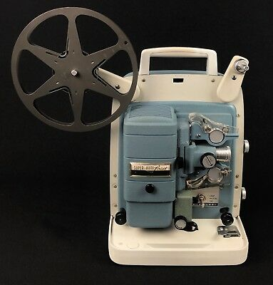 Vintage Bell & Howell Super Auto Load 8mm Projector 363 Blue Movie Film w Reel