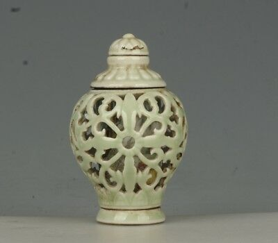 Chinese Exquisite Handmade flower Hollow porcelain snuff bottle(Rotatable core)