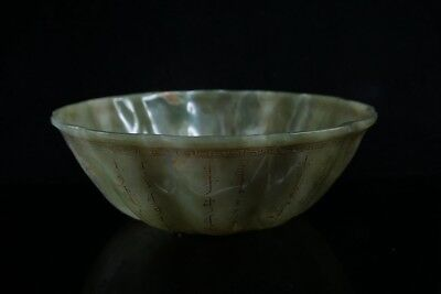 Chinese Exquisite Hand carved Ancient poetry Carving Hetian jade Lotus bowl