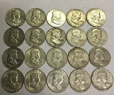 ***   WHOLESALE**   Roll Franklin Half Dollars  Mixed Date 1950'S-1960'   ******
