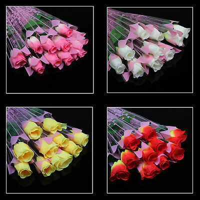 10pcs Quality Artificial Flower Single stem silk Rose Valentine's day wedding