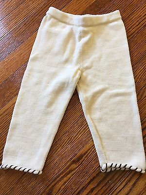 Lula La Sweater Knit Pants Baby 6-12 Months 100% Organic Cotton Cream