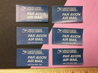 Lot of 6 Obsolete USPS 1995 Par Avion Air Mail Etiquette Label 19-B blue NOS