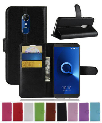 Litchi PU Leather slot wallet stand flip Cover Skin Case For ALCATEL 3 5052D