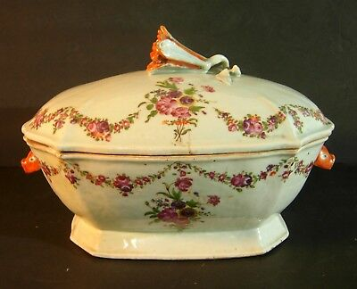 Antique Chinese Export Porcelain Tureen (As Is) Old Restoration