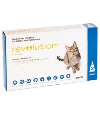 Revolution for Cats 2.6-7.5kg body weight pack of 2 blue box pack
