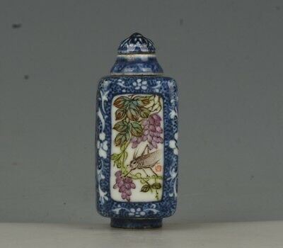 Chinese Exquisite Handmade flower grape porcelain snuff bottle(Rotatable core)
