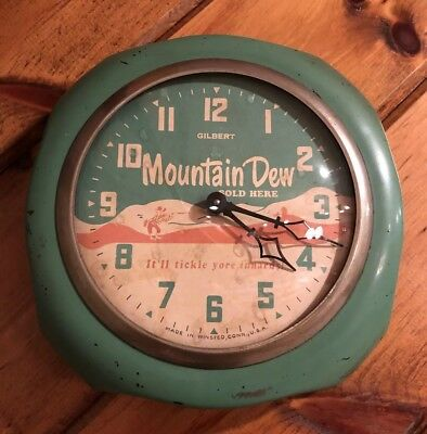 Ultra Rare 1950's Mountain Dew Advertising Gilbert Clock Mt Dew Sign
