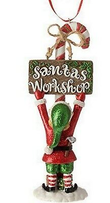 "RAZ Christmas Ornament Elf with ""Santas Workshop"" Sign Resin 6.5"" tall"