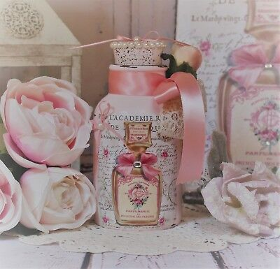 ~ Shabby Chic Vintage ~ Paris Decorative Perfume Bottle ~ Lace/Pearls/Roses ~
