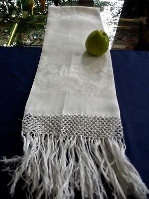 Antique Victorian Edwardian French Damask Linen Bath Spa Show Towel 27x60 Fringe