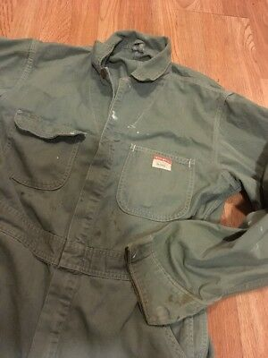 Vintage 1940's Penneys Big Mac Hearing Bone Twill Coveralls Work Wear 34x27