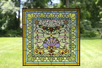 """24"""" x 24"""" Colorful Handcrafted stained glass Jeweled window panel !"""