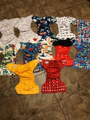 Lot Of 12 Alva Cloth Diapers And Liners