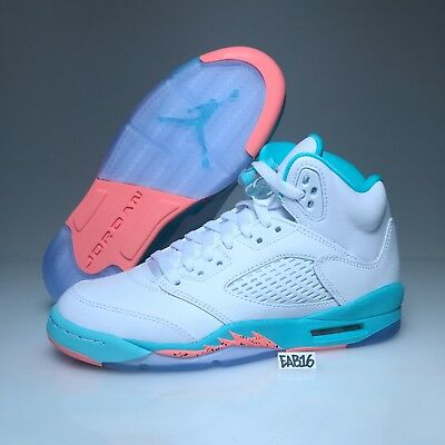 Nike Air Jordan Retro V 5 White Crimson Pulse Light Aqua Black 440892-100 Girls