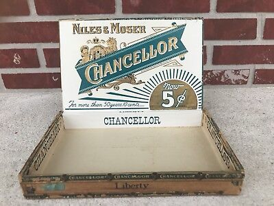 ANTIQUE Niles & Moser CHANCELLOR Liberty WOOD CIGAR BOX VINTAGE TOBACCO