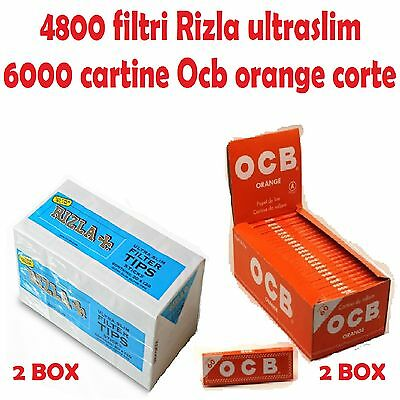 2box FILTRI RIZLA ULTRASLIM 2box CARTINE OCB ORANGE CORTE ARANCIONI + accendino