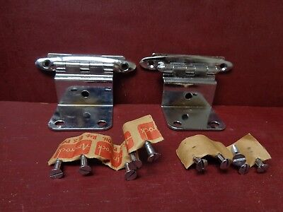 2 1950S Nos More Avail Amerock Chrome Cabinet Hinges Correct Orig Screws #0