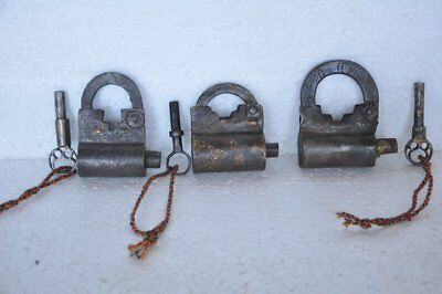 3 Pc Old Iron Handcrafted Solid Screw System Padlocks , Rich Patina