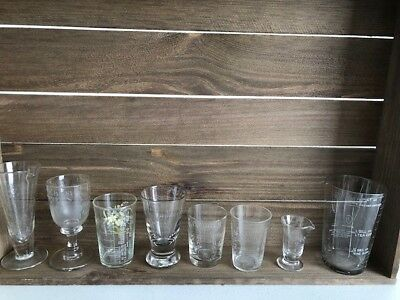 Antique Glass Measures Collection Of8Medical / Kitchen / Culinary Or Pharmacy