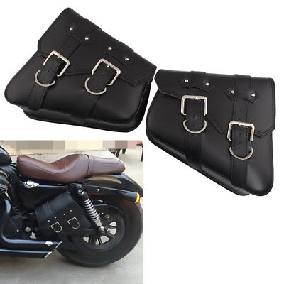 Black PU Leather Motorcycle Side Saddle Bag For Harley Softail Left & Right Side