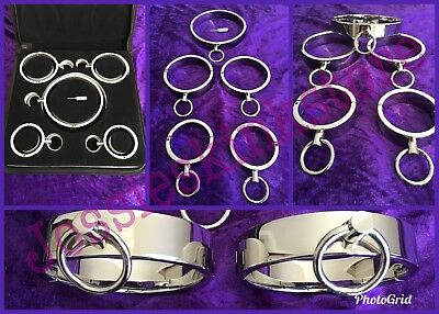 Stainless Steel Metal Neck Collar Wrist & Ankle Cuffs Set with case