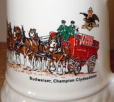 L@@K! Vintage Budweiser Beer Champion Clydesdale Mug Stein Made in USA POTTERY