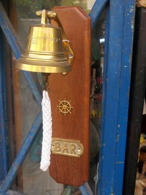 """Campana """"ss Queen Mary 1930"""" Su Base In Teak"""