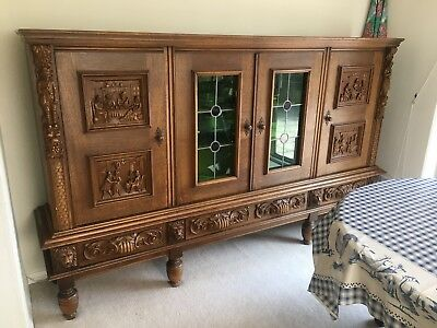 Large Wooden Victorian Antique Cabinet Carved Legs