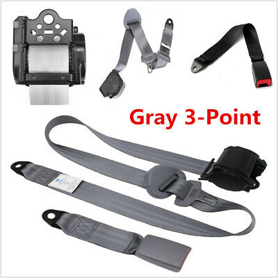 High Strength Safety Straps 1 Set Gray 3 Point Car Offroad Retractable Seat Belt
