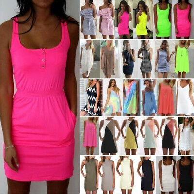 Womens Short Mini Dress Summer Beach Casual Tunic Sleeveless Tank Vest Sundress