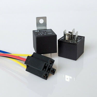 1/2x Car Relay 40A 5-Pin Switching Relays with Socket and Cable DC 12V UK