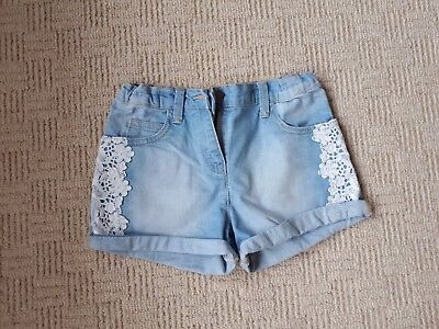 Girls Denim Shorts Age 8-9 Years, Light Blue With Lace