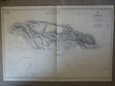Jamaica (Incl Morant Cays) - Admiralty Chart Engraved 1880 - Corrected To 1967