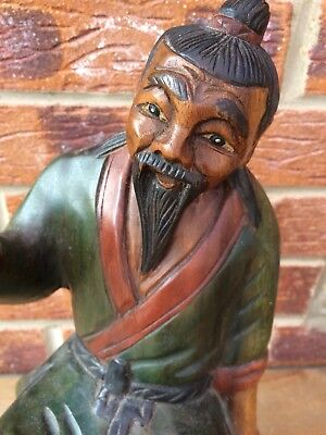 Large Wooden Carving Chinese Fishing Man From Single Piece of Wood
