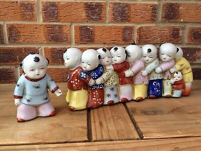 Vintage Large Chinese 10 Figurine Set Children and Mother