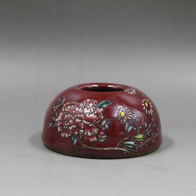 Chinese Old Sacrificial Red And Famille Rose Flower Pattern Porcelain Water Jar