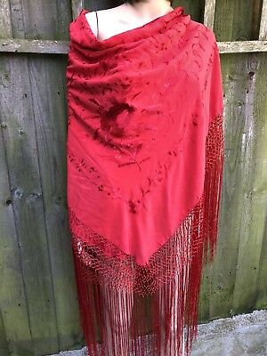 Exceptional Bright Red Edwardian Hand Embroidered Spanish Shawl Flawless
